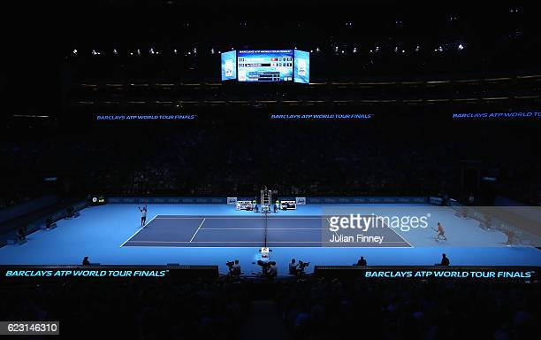 A general view of match action during the mens singles match between Stan Wawrinka of Switzerland and Kei Nishikori of Japan on day two of the ATP...