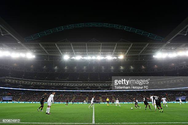 A general view of match action during the UEFA Champions League Group E match between Tottenham Hotspur FC and Bayer 04 Leverkusen at Wembley Stadium...