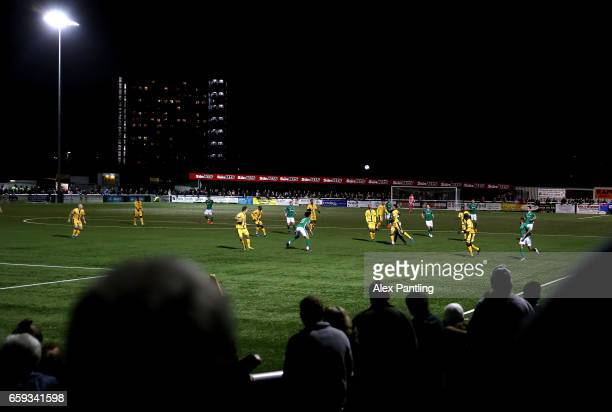 A general view of match action during the Vanarama National League match between Sutton United and Lincoln City at Gander Green Lane on March 28 2017...