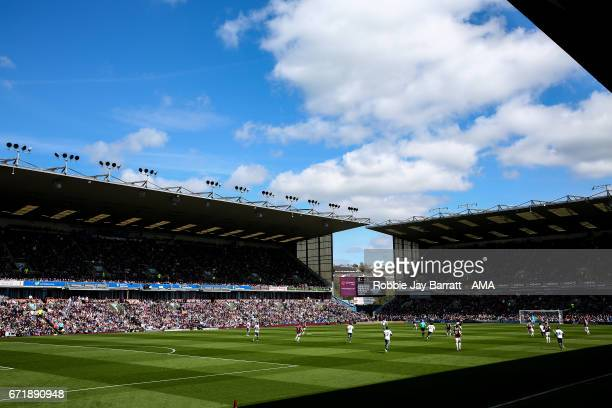 General view of match action nat Turf Moor the home stadium of Burnley during the Premier League match between Burnley and Manchester United at Turf...