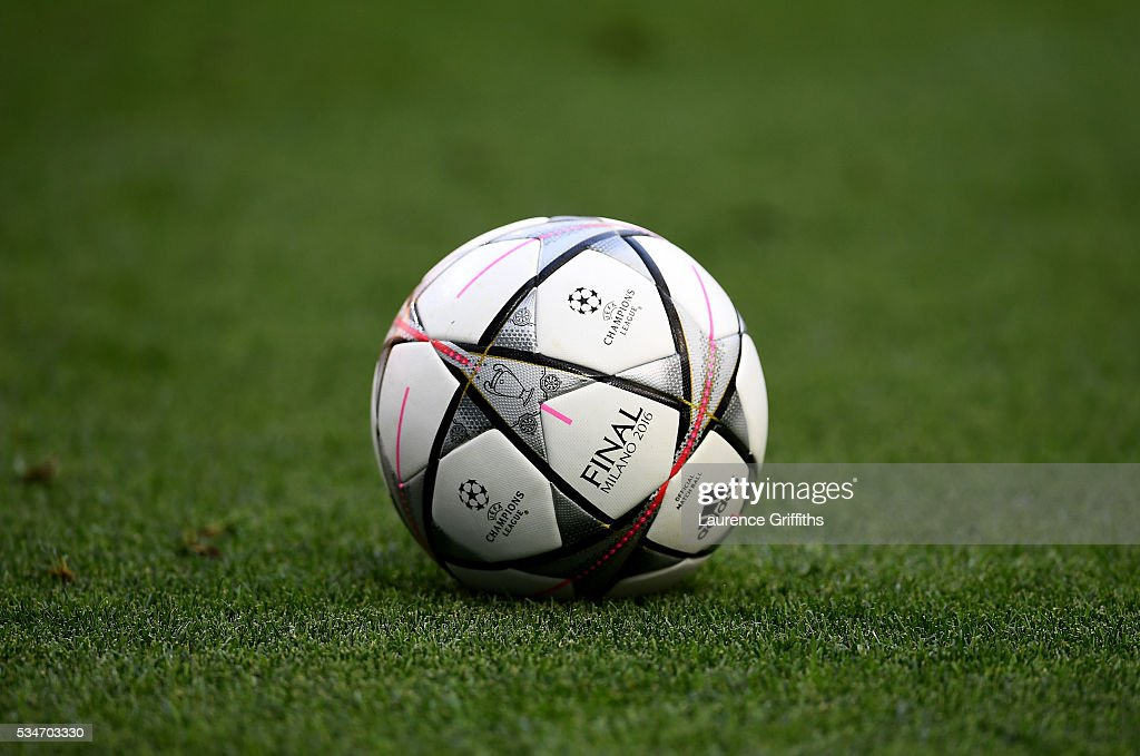 A general view of match ball during an Atletico de Madrid training session on the eve of the UEFA Champions League Final against Real Madrid at Stadio Giuseppe Meazza on May 27, 2016 in Milan, Italy.