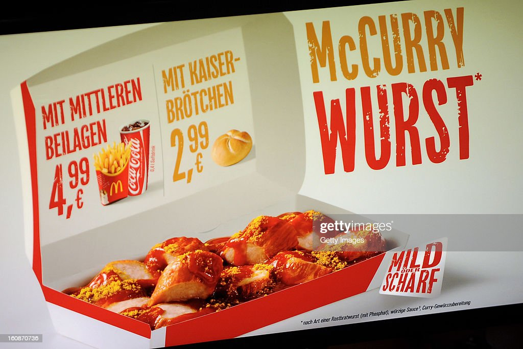 A general view of McCurrywurst pricing list from McDonald's on February 7, 2013 in Dortmund, Germany.