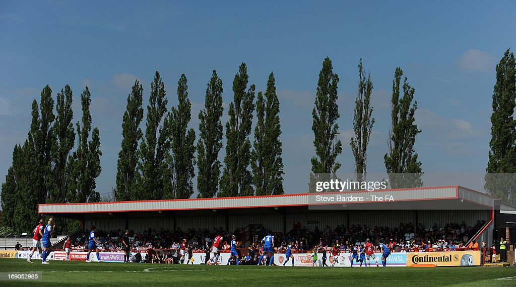A General view of Meadow Park during the FA WSL Continental Cup match between Arsenal Ladies FC and Bristol Academy at Meadow Park on May 19, 2013 in Borehamwood, England.