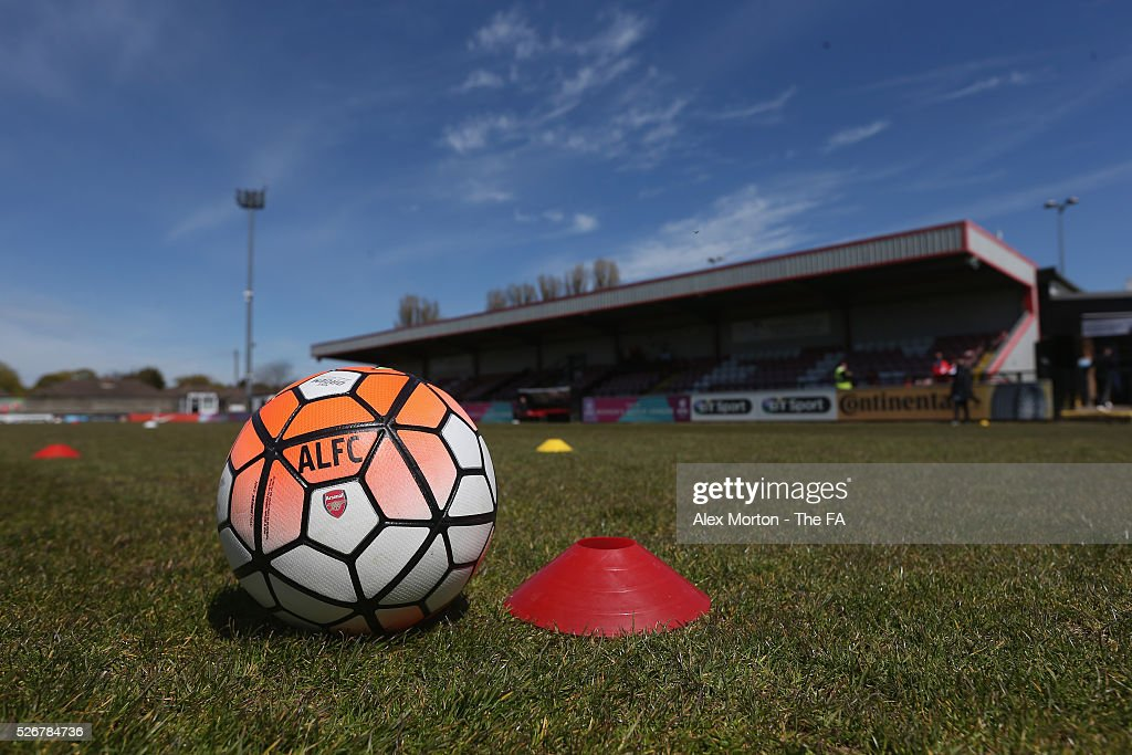 General view of Meadow Park prior to the WSL match between Arsenal Ladies and Birmingham City Ladies at Meadow Park on May 1, 2016 in Borehamwood, England.