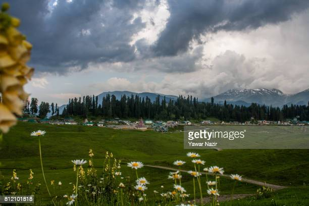 General view of meadows around Gulmarg Golf Course and resort on July 09 2017 in Gulmarg in the Baramula district of Kashmir India Located 54 km to...