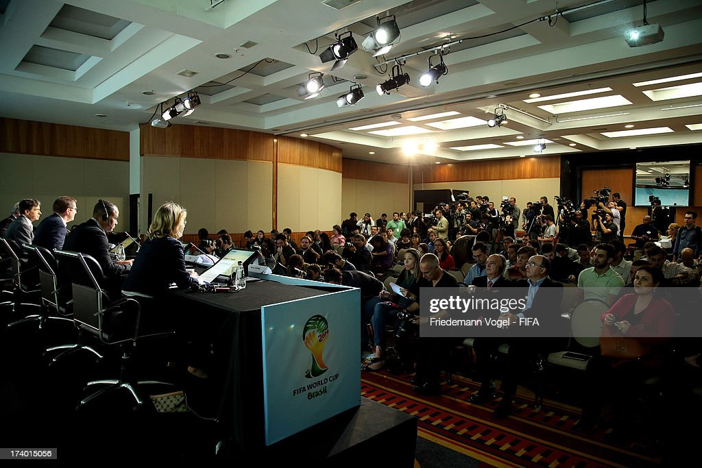 A general view of media during the media briefing to announce the ticketing strategy for the 2014 FIFA World Cup at the Hotel Renaissance on July 19, 2013 in Sao Paulo, Brazil.