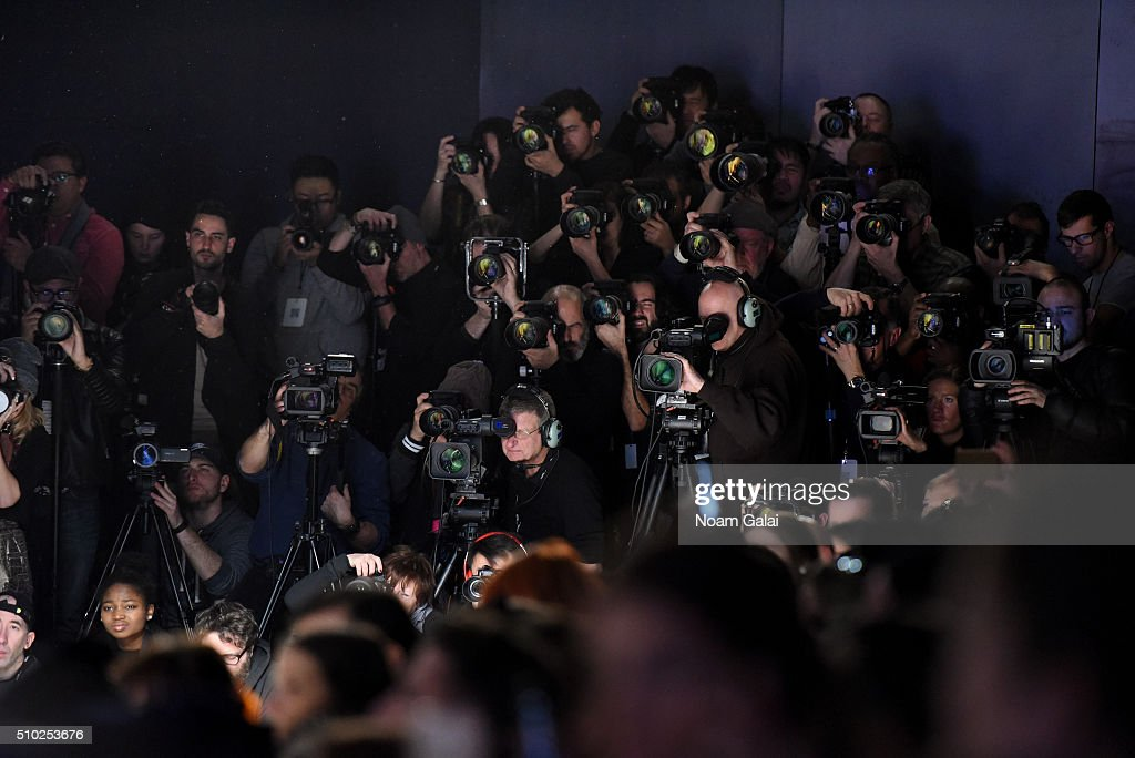 General view of media during the Noon By Noor Fall 2016 fashion show during New York Fashion Week: The Shows at The Dock, Skylight at Moynihan Station on February 14, 2016 in New York City.