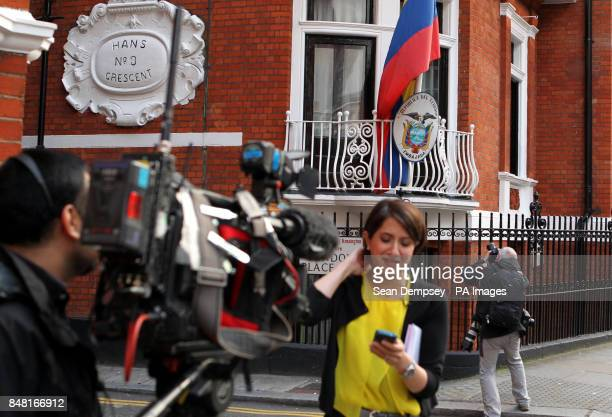 A general view of media outside the Ecuadorian Embassy in London where WikiLeaks founder Julian Assange sought political asylum after failing in his...