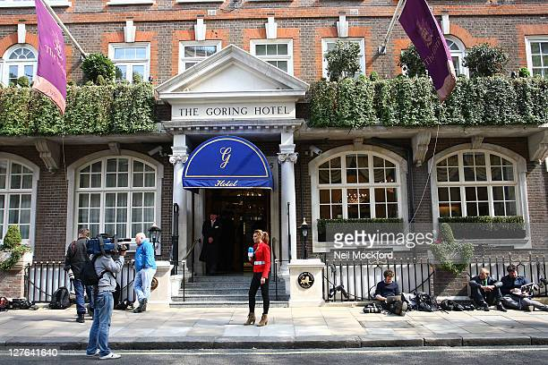 General View of media outside The Goring Hotel on April 26 2011 in London England