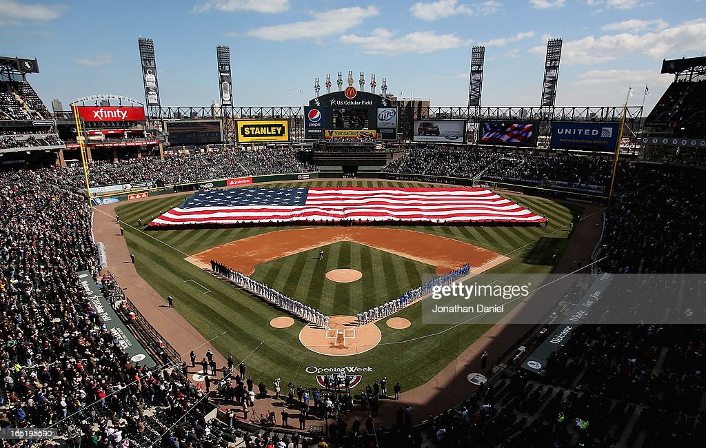 General view of members of the Chicago White Sox and the Kansas City Royals stand during the National Anthem before the Opening Day game at U.S. Cellular Field on April 1, 2013 in Chicago, Illinois.