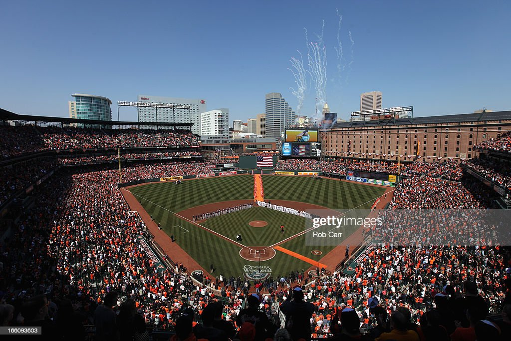 General view of members of the Minnesota Twins and Baltimore Orioles stand on the field during the playing of the national anthem prior to the start of their opening day game at Oriole Park at Camden Yards on April 5, 2013 in Baltimore, Maryland.