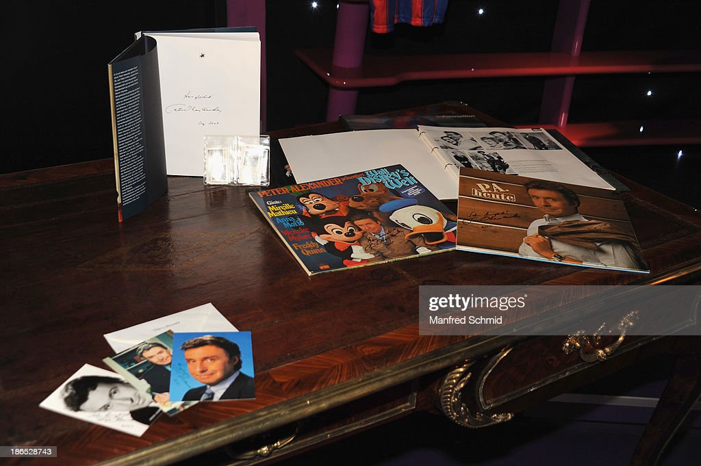 A general view of memorabilias during a press event for the Peter Alexander charity auction at Madame Tussauds on October 29, 2013 in Vienna, Austria.