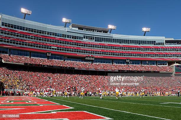 A general view of Memorial Stadium during a game between the Nebraska Cornhuskers and the Wyoming Cowboys on September 10 2016 in Lincoln Nebraska...