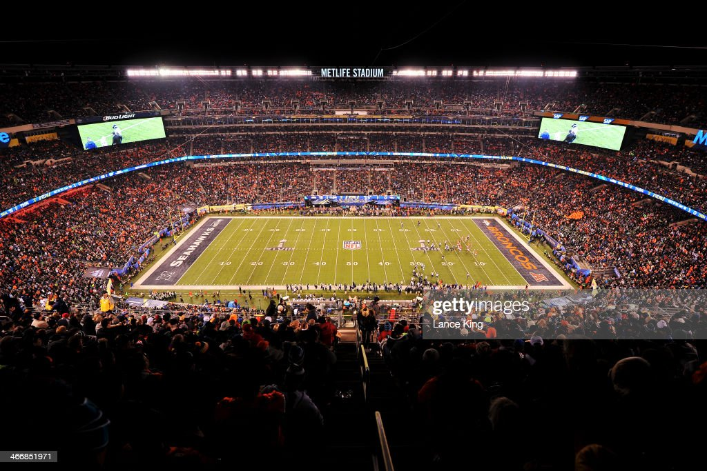 A general view of MetLife Stadium during Super Bowl XLVIII between the Seattle Seahawks and the Denver Broncos on February 2, 2014 in East Rutherford, New Jersey. The Seahawks defeated the Broncos 43-8.