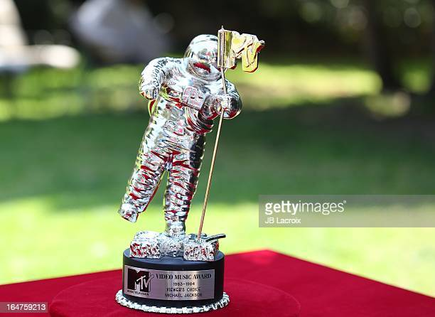 A general view of Michael Jackson's 19831984 MTV Video Music Award for 'Thriller' is displayed before going up for auction on March 27 2013 in Los...