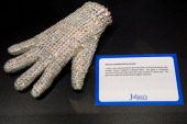 General view of Michael Jackson's 'Crystal Glove' before the VIP Preview of 'The Collection Of Tomkins And Bush Michael Jackson Wardrobe' at Getty...