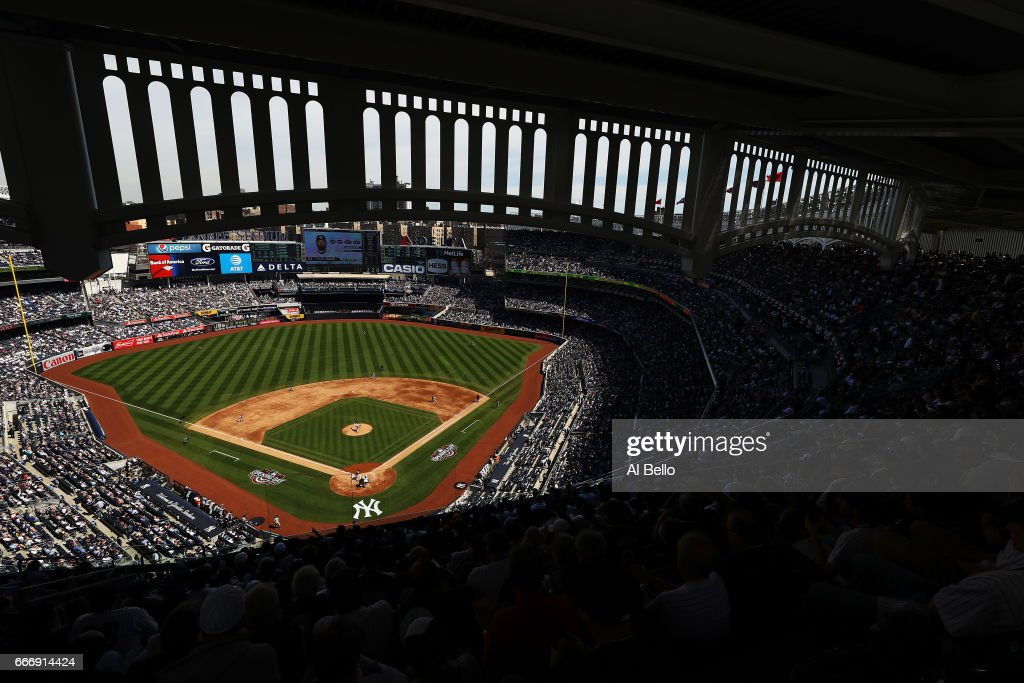 A General View of Michael Pineda #35 of the New York Yankees pitching against the Tampa Bay Rays during the New York Yankees home Opening game at Yankee Stadium on April 10, 2017 in New York City.