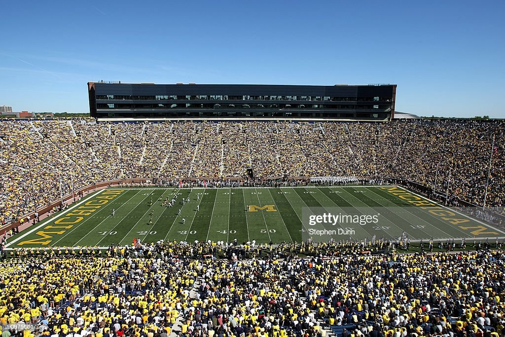 General view of Michigan Stadium during the game between the Michigan Wolverines and the Eastern Michigan Eagles on September 19 2009 in Ann Arbor...