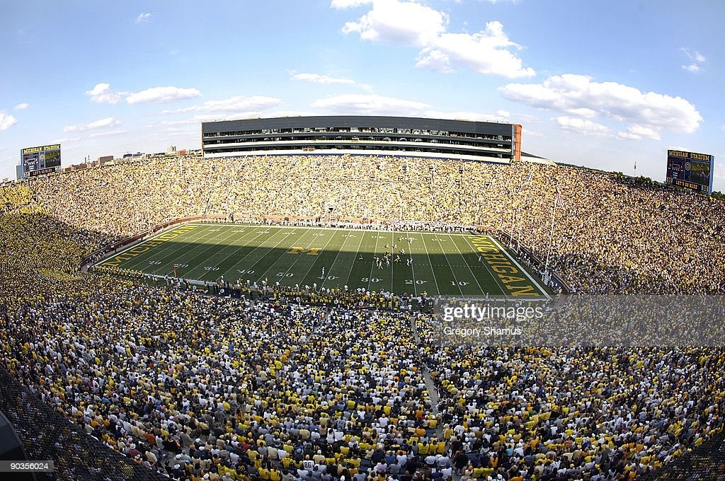 General view of Michigan stadium during the third quarter as Western Michigan Broncos plays the Michigan Wolverines on September 5 2009 at Michigan...