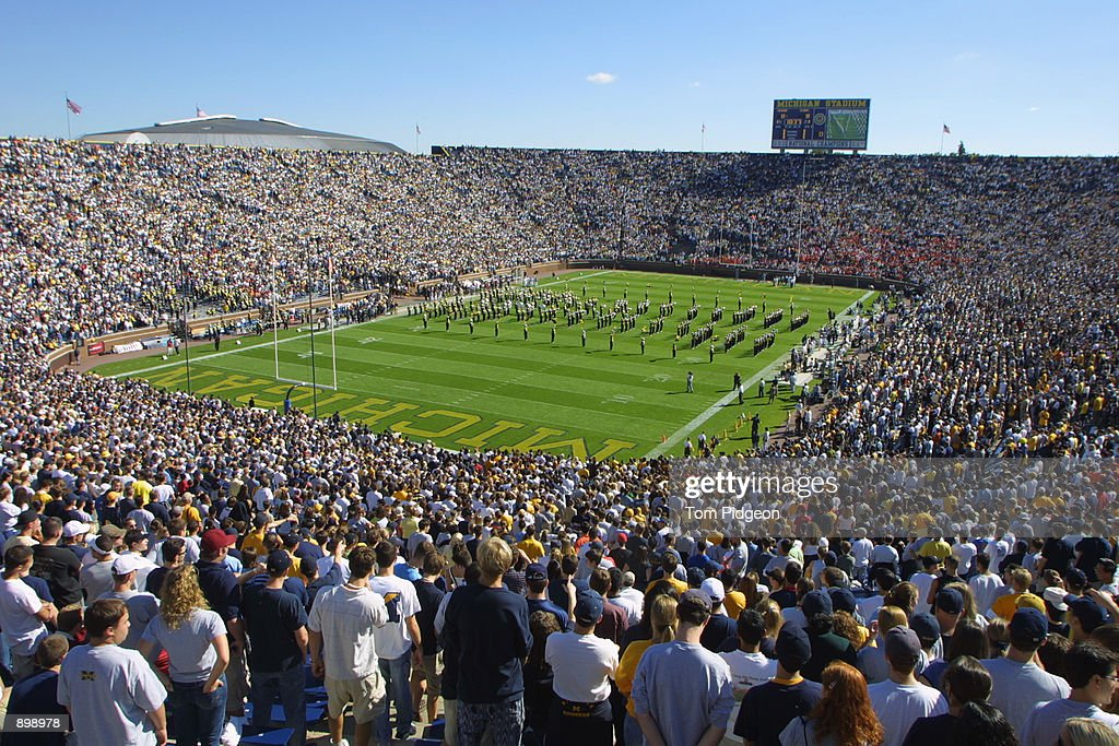 A general view of Michigan Stadium where the announced crowd of 107085 pack the stands for the game against the Illinois Fighting Illini in Ann Arbor...
