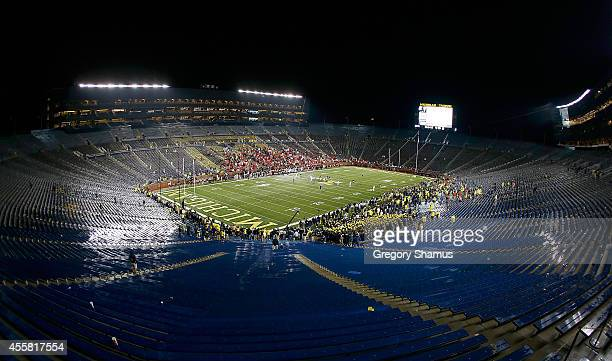 General view of Michigan Stadium while the Utah Utes and Michigan Wolverines finish a game after a 2 hour 24 minute weather delay on September 20...