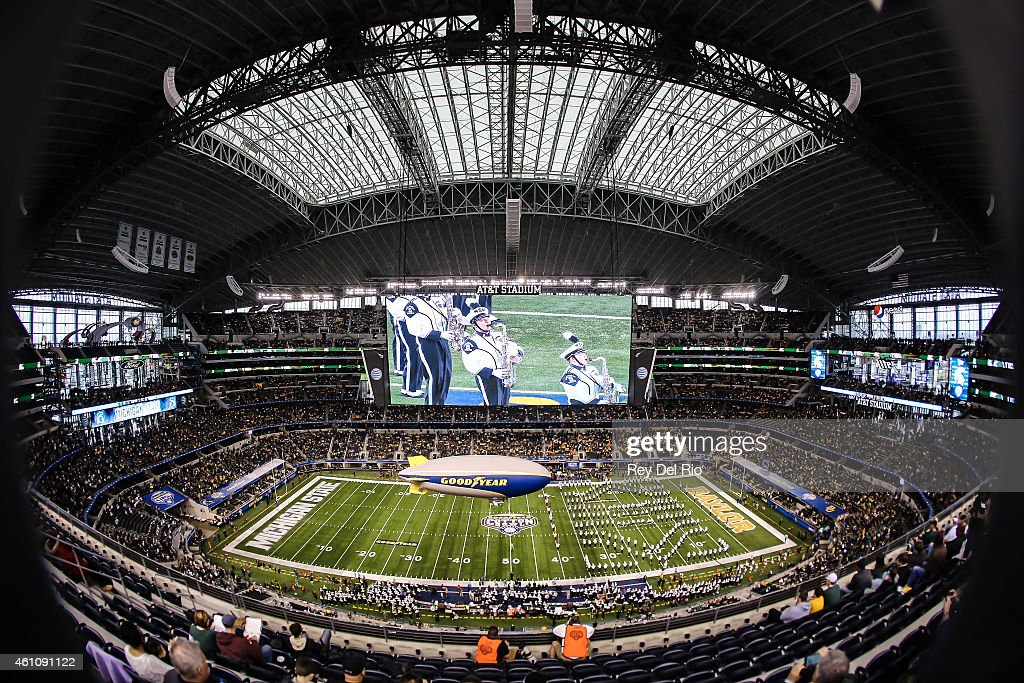 General view of Michigan State Spartans marching band before the start of the game against the Michigan State Spartans and the Baylor Bears at the Goodyear Cotton Bowl Classic at AT&T Stadium on January 1, 2015 in Arlington, Texas.