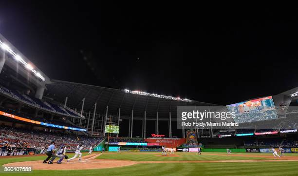 A general view of Miguel Rojas of the Miami Marlins at bat during the game against the New York Mets at Marlins Park on April 13 2017 in Miami Florida