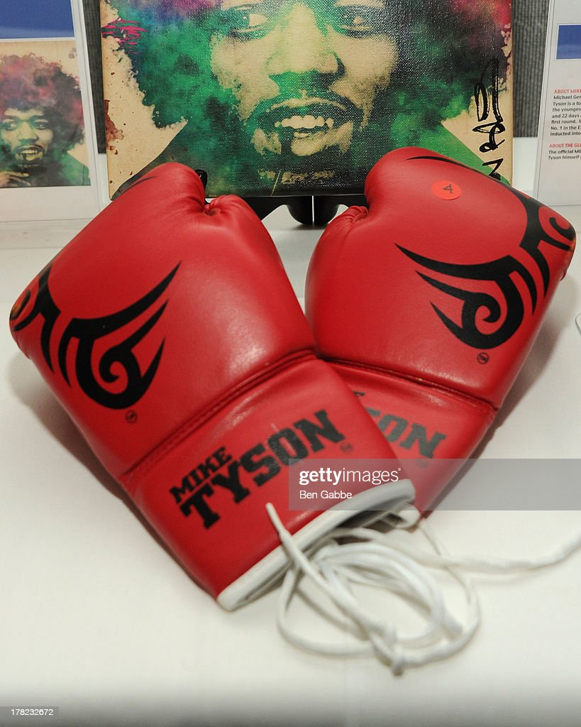 A general view of Mike Tyson boxing gloves at the 'Puncher's Mark' Indiegogo Fundraiser Kick Off at Duane Park on August 27, 2013 in New York City.