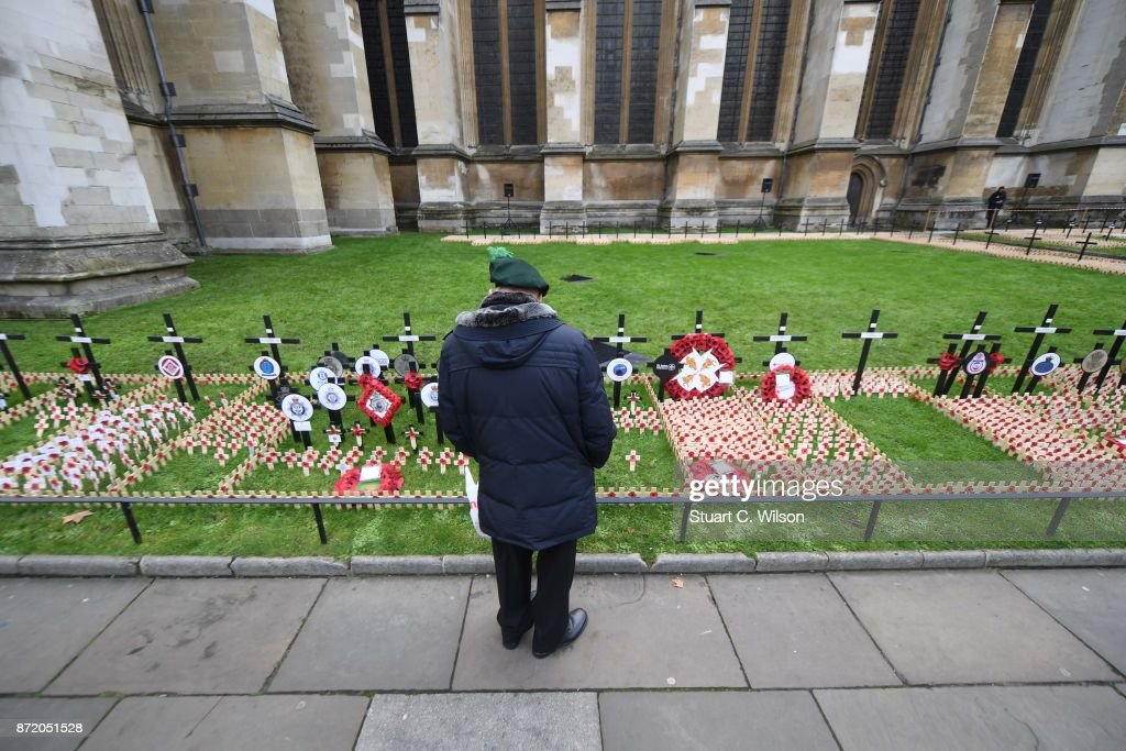 General view of military veterans visiting the Field of Remembrance at Westminster Abbey on November 9, 2017 in London, England.
