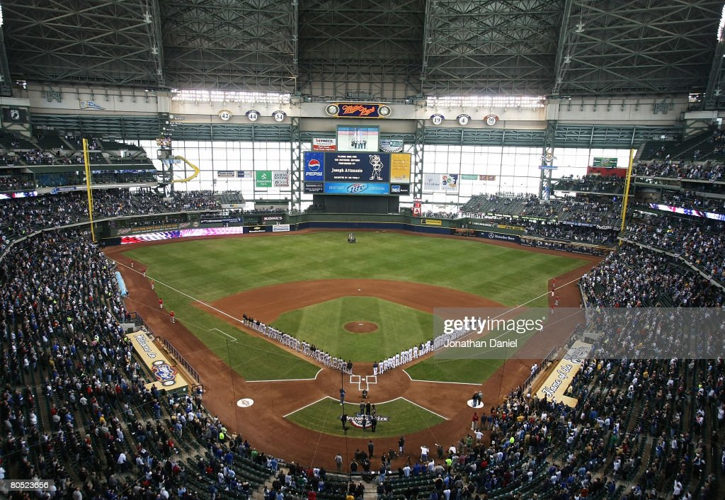 A general view of Miller Park as the Milwaukee Brewers and the San Francisco Giants lineup for the National Anthem before the Opening Day game on...