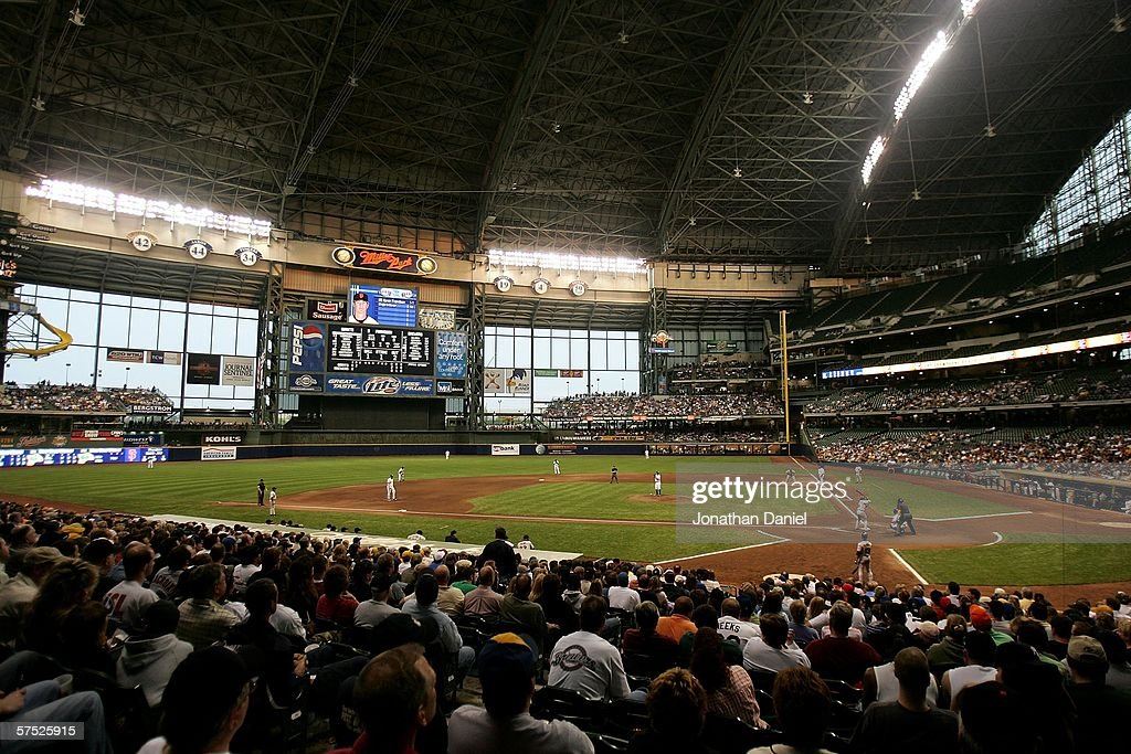 A general view of Miller Park during a game between the Milwaukee Brewers and the San Francisco Giants on May 3 2006 at Miller Park in Milwaukee...