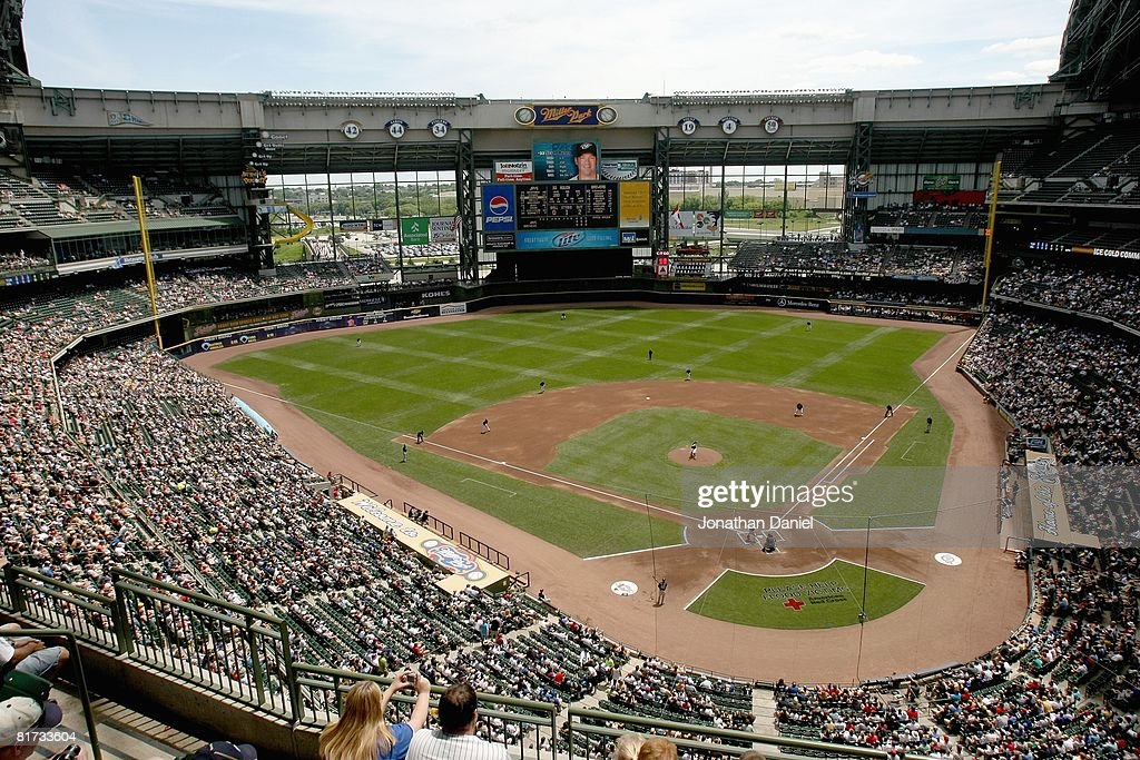 A general view of Miller Park taken during the game between the Milwaukee Brewers and the Toronto Blue Jays on June 19 2008 at Miller Park in...