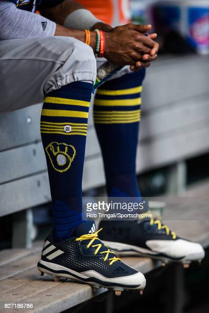 A general view of Milwaukee Brewers Socks during the game against the New York Mets at Citi Field on June 1 2017 in the Queens borough of New York...