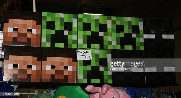 A general view of Minecraft masks at the Amazing Las Vegas Comic Con at the South Point Hotel Casino on June 15 2013 in Las Vegas Nevada