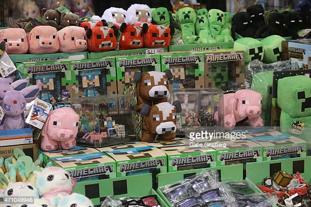 A general view of Minecraft products for sale at Wizard World Comic Con Las Vegas at the Las Vegas Convention Center on April 24 2015 in Las Vegas...