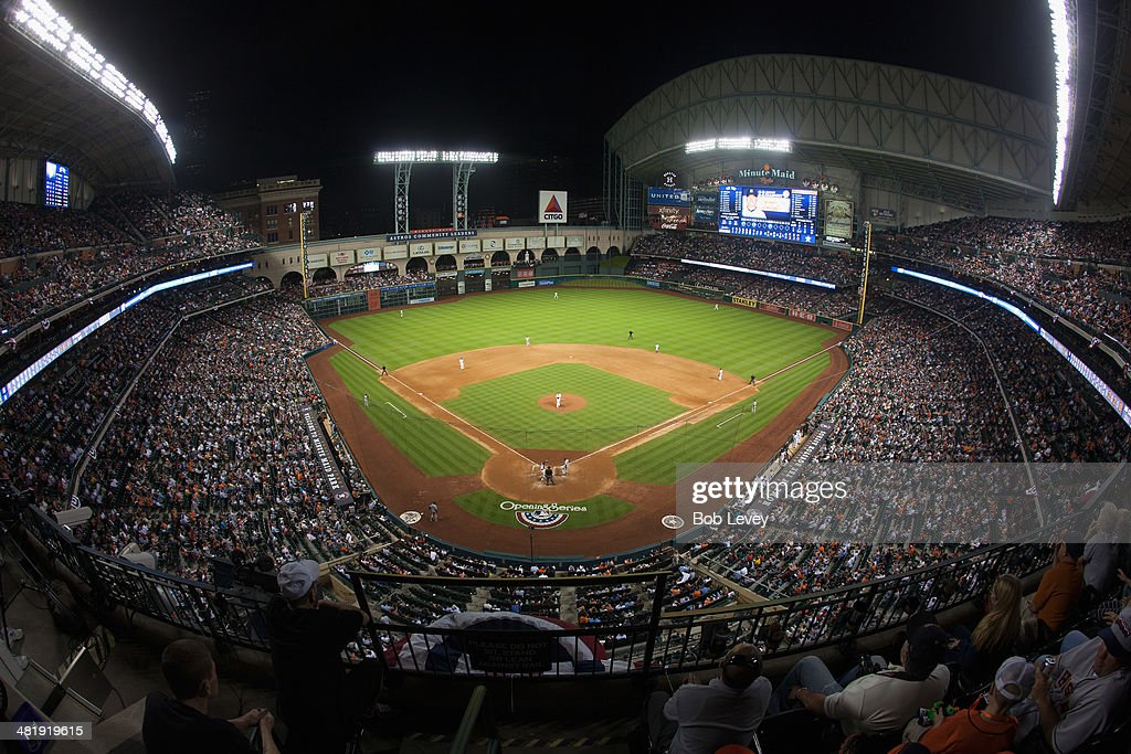 A general view of Minute Maid Park during a game between the New York Yankees and Houston Astros on opening day on April 1, 2014 in Houston, Texas.