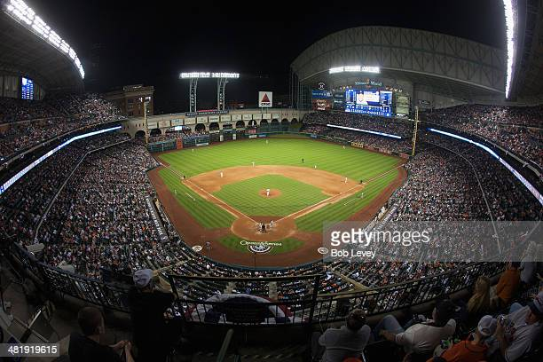 A general view of Minute Maid Park during a game between the New York Yankees and Houston Astros on opening day on April 1 2014 in Houston Texas