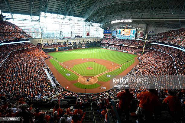 A general view of Minute Maid Park during Game 3 of the ALDS between the Kansas City Royals and the Houston Astros at Minute Maid Park on Sunday...