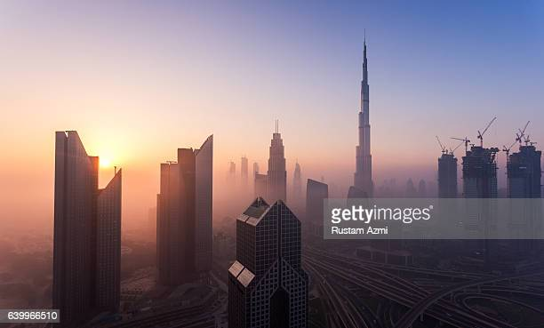 A general view of misty Sunrise over Dubai Skyline on December 07 2016 in Dubai United Arab Emirates