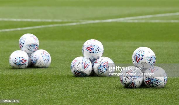 A general view of Mitre match balls during the match at Meadow Lane Nottingham