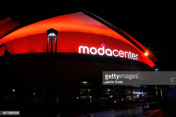 General view of Moda Center Participating In National Landmarks Illuminated Across US To Shine Light On Ebola Crisis And Show Solidarity With West...