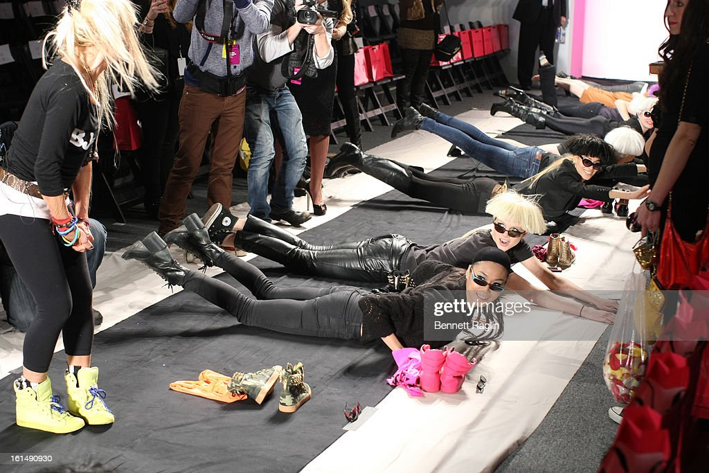 A general view of models during rehearsal prior to the start of the Betsey Johnson Fashion Show Fall 2013 Mercedes-Benz Fashion Week at The Studio at Lincoln Center on February 11, 2013 in New York City.