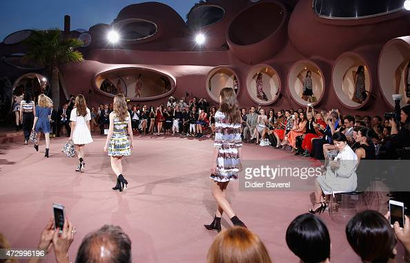 A general view of models on the runway at the Dior Croisiere 2016 at Palais Bulle on May 11 2015 in Theoule sur Mer France