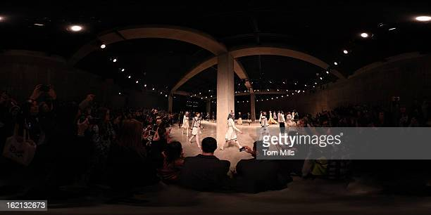 A general view of models walking on the runway at the Meadham Kirchhoff show during London Fashion Week Fall/Winter 2013/14 at TopShop Show Space on...