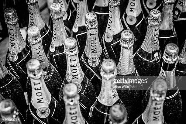 General view of Moet champagne bottles during day four of Royal Ascot at Ascot Racecourse on June 20 2014 in Ascot England