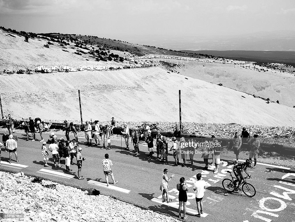 A general view of Mont Ventoux as BMC's <a gi-track='captionPersonalityLinkClicked' href=/galleries/search?phrase=Marcus+Burghardt&family=editorial&specificpeople=812514 ng-click='$event.stopPropagation()'>Marcus Burghardt</a> makes his way up the mountain during stage fifteen of the 2013 Tour de France, a 242.5KM road stage from Givors to Mont Ventoux, on July 14, 2013 on Mont Ventoux, France.