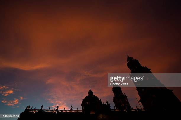 General view of Morelia Cathedral at the downtown of Morelia on February 15 2016 in Morelia Mexico On Tuesday Pope Francis will travel to Michoacan...
