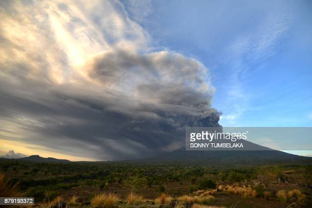 General view of Mount Agung during an eruption seen from Kubu subdistrict in Karangasem Regency on Indonesia's resort island of Bali on November 26...