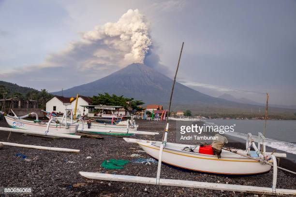 KARANGASEM BALI INDONESIA NOVEMBER 28 General view of Mount Agung during an eruption while spewing volcanic ash into the sky on November on November...