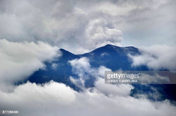 General view of Mount Agung volcano from the Kubu subdistrict in Karangasem Regency on Indonesia's resort island of Bali on November 22 2017 The...